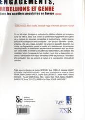Engagements, rébellions et genre dans les quartiers populaires en Europe (1968-2005) - 4ème de couverture - Format classique