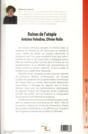 Ruines de l'utopie antoine volodine, olivier rolin - 4ème de couverture - Format classique