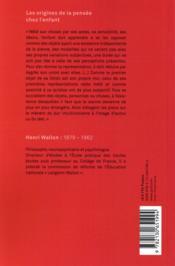 Les origines de la pensée chez l'enfant (3e édition) - 4ème de couverture - Format classique