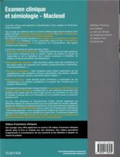 Examen clinique et sémiologie ; macleod ; interrogatoire et examen clinique - 4ème de couverture - Format classique