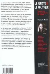 Le juriste & le politique. trente ans de journalisme au figaro - 1ere ed. - 4ème de couverture - Format classique