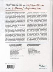 Encyclopédie de l'informatique et des systèmes d'informations - 4ème de couverture - Format classique