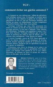 Tgv : Comment Eviter Un Gachis Annonce - 4ème de couverture - Format classique