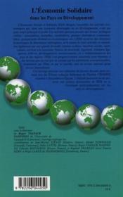 L'économie solidaire dans les pays en développement - 4ème de couverture - Format classique