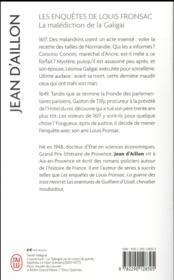 Les enquêtes de Louis Fronsac T.10 ; la malédiction de la Galigaï - 4ème de couverture - Format classique