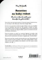 Mes recettes au baby-robot - 4ème de couverture - Format classique