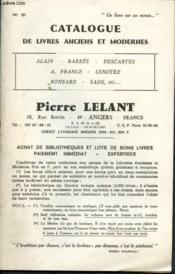 Catalogue de livres anciens et modernes n°21 : Alain, Barrès, Descartes, A. France, Lenôtre, Ronsard, Sade,etc. - Couverture - Format classique