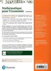 Mathématiques pour l'économie (5e édition) - 4ème de couverture - Format classique
