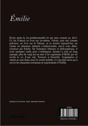 Emilie - 4ème de couverture - Format classique