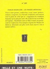 Les paradis artificiels - 4ème de couverture - Format classique