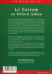 Le carrom ou billard indien regles et pratique - 4ème de couverture - Format classique