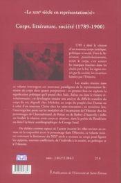 Corps, litterature (1789-1900) - 4ème de couverture - Format classique