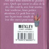 Petit Livre Pour Ma Fille - 4ème de couverture - Format classique