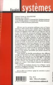 Fiscalité et personnes publiques - 4ème de couverture - Format classique