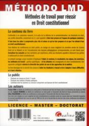 Méthodes de travail pour réussir en droit constitutionnel - 4ème de couverture - Format classique