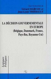 La Decision Gouvernementale En Europe - Intérieur - Format classique