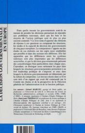La Decision Gouvernementale En Europe - 4ème de couverture - Format classique