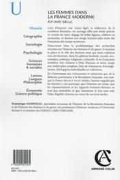 Les femmes dans la France moderne ; XVIe-XVIIIe siècle - 4ème de couverture - Format classique
