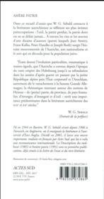Amère patrie ; à propos de la littérature autrichienne - 4ème de couverture - Format classique