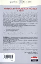 Marketing et communication politique (2e édition) - 4ème de couverture - Format classique