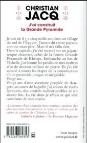 J'ai construit la grande pyramide - 4ème de couverture - Format classique