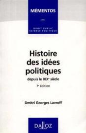 Histoire Des Idees Politiques Depuis Le Xixe Siecle - Couverture - Format classique