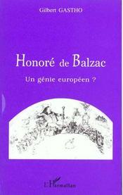 Honore De Balzac ; Un Genie Europeen - Intérieur - Format classique