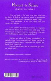 Honore De Balzac ; Un Genie Europeen - 4ème de couverture - Format classique