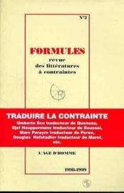 Formules N.2 : Traduire La Contrainte - Couverture - Format classique