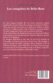 Conquetes de belle rose (les) - 4ème de couverture - Format classique