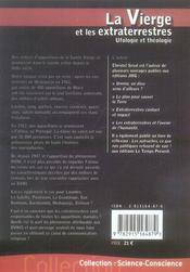 La vierge et les extraterrestres ; ufologie et théologie - 4ème de couverture - Format classique