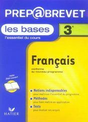 Prepabrevet ; Bases De Francais 3e - Intérieur - Format classique