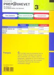 Prepabrevet ; Bases De Francais 3e - 4ème de couverture - Format classique