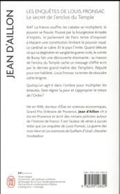 Les enquêtes de Louis Fronsac T.9 ; le secret de l'enclos du temple - 4ème de couverture - Format classique
