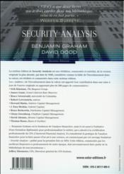 Security analysis ; analyse et évaluation financières des valeurs mobilières (6e édition) - 4ème de couverture - Format classique