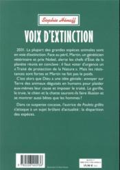 Voix d'extinction - 4ème de couverture - Format classique