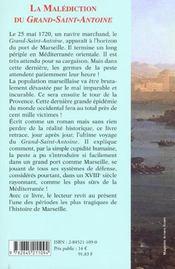 La Malediction Du Grand Saint Antoine - 4ème de couverture - Format classique