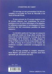 L'essentiel du tarot ; tarot de Marseille et tarot Oswald Wirth - 4ème de couverture - Format classique