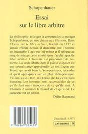 Essai sur le libre arbitre - 1ere ed - 4ème de couverture - Format classique