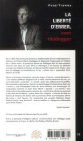 La liberté d'errer avec Heidegger - 4ème de couverture - Format classique