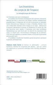 Frontières du corps et de l'espace ; la métaphysique de Newton - 4ème de couverture - Format classique