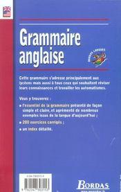 Grammaire anglaise (édition 2002) - 4ème de couverture - Format classique
