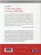 Les luttes des classes en France - 4ème de couverture - Format classique