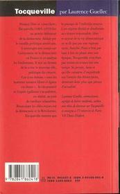 Tocqueville -apprentissage lib - 4ème de couverture - Format classique