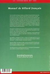 Manuel de billard francais bases, technique, conception - 4ème de couverture - Format classique