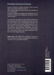 Phonétique historique du français (2e édition) - 4ème de couverture - Format classique