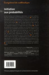 Initiation aux probabilités ; traduction de la neuvième édition américaine - 4ème de couverture - Format classique