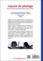 Leçons de pilotage ; pilotage de base et de perfectionnement LAPL(A)-PPL(A) (5e édition) - 4ème de couverture - Format classique