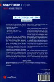 Droit des obligations : régime général - 4ème de couverture - Format classique