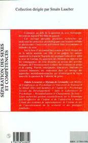 Separation Des Sexes Et Competences - 4ème de couverture - Format classique